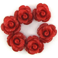 6 10mm synthetic coral carved rose flower pendant bead red