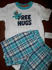 Gymboree NWT Baby Boy 18-24 Octopus Hugs Free Hugs BS and plaid Short Outfit