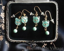 Pussy cat EARRINGS Givres glass deco mint green turquoise to match cat necklaces