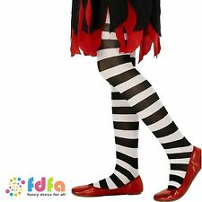 KIDS BLACK & WHITE STRIPED TIGHTS - age 6-12 - halloween girls child fancy dress