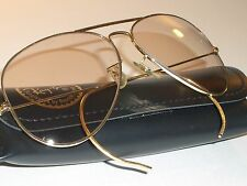 62[]14mm VINTAGE B&L RAY BAN ARISTA PHOTO BROWN CHANGEABLES AVIATOR SUNGLASSES
