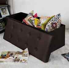 Leather Storage Ottoman Bench Bedroom Storage Trunk Toy Hope Chest Seating Chair