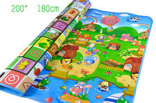 Kid Play Mat Floor Activity Rug HUGE 2mx1.8m Double Sides Alphabet Animals 284