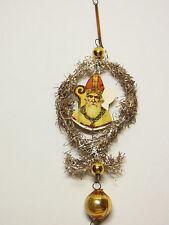 Christbaumschmuck Santa Claus Nikolaus Oblate Glas Tinsel Gablonz um 1930 # 108