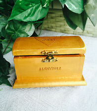 Personalized Wood Etched Treasure Chest for Ring Bearer or Jewelry Box, Wedding