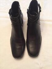 Michelle D Brown Leather Zip Ankle Boot Women Sz 9 1/2M New w Box