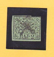 Italien-Altitalien.Staaten-Kirchenstaat-1852-2 Baj.grünoliv-MiNr.3-gest.