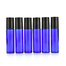 5Pcs Glass Roll-On 10ml empty Fragrance Perfume essential Oil Bottle Blue  LD