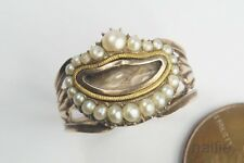 ANTIQUE GEORGIAN ENGLISH ARMY 9K GOLD PEARL MOURNING RING Capt. J. ELIGE 1812