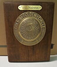 Los Angeles LA Open Golf Plaque/Award Wood/Brass 1970's