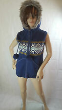 Wombat clothing 100% wool blue body warmer gilet with hoodie, size 12 uk, M