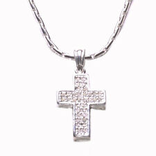 Traditional Twist Clear Diamante Encrusted Chrome Cross Pendant Necklace(Zx216)