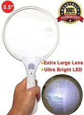 "5.5"" JUMBO Ultra Bright LED Handheld Magnifying Glass with Multi-Lens 2X 4X 15X"