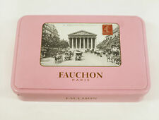 Empty VINTAGE Fauchon TIN BOX Chocolate BISQUITS rare collectible Rosa postcard