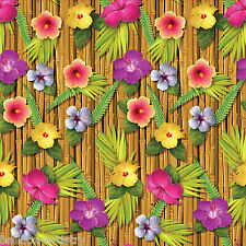 Tropical Luau Party Scene Setter Room Roll Backdrop Decoration BAMBOO FLOWERS