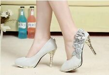 New Design Women Girl Wedding Pumps Bridal Glitter Fake Crystal Rose Flower Even