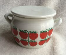 Arabia Finland Red Strawberry Jar Tub Lid Pomona Raija Uosikkinen 1964 Finnish