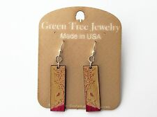 Nature Window Fuchsia Tree Butterfly Green Tree Jewelry Made USA Dangle Earrings