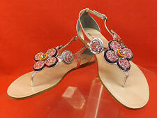 NIB MIU MIU PRADA SILVER LEATHER GLITTER FLOWERS THONG FLATS SANDALS 39.5