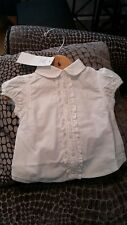 BNWT Ralph Lauren Baby Girl White Solid Frill Oxford Shirt Age 12 Months