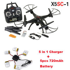 Cool Syma X5SC-1 Quadcopter Dron FPV w/HD 2MP Cam + 5X 720mAh Battery + Charger