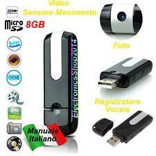 MICROSPIA PENDRIVE SENSORE MOVIMENTO U8 DISK VIDEOCAMERA REGISTRATORE SPY 8GB