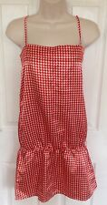 BERSHKA Ladies summer red white satin print dress size L 12