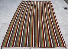 ON SALE Vintage Handmade Multi Color Striped Turkish Kilim Kilim Rug,4.7x6.7 ft