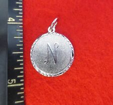 14KT WHITE GOLD EP LETTER N ROUND INITIAL DISC CHARM