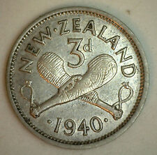 1940 Silver New Zealand Three Pence Coin XF