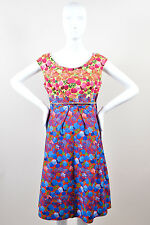 Marc Jacobs Yellow Red Blue Contrast Floral Print Belted Sleeveless Dress SZ 10