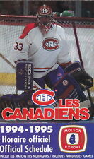 1994-95 MONTREAL CANADIENS HOCKEY POCKET SCHEDULE - FRENCH