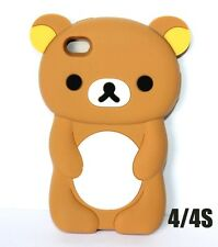 For iPHONE 4 4S - SOFT SILICONE RUBBER TPU SKIN CASE COVER CUTE BROWN TEDDY BEAR