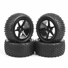4Pcs Rubber Front Rear Tire Tyre & Wheel Rim For 1:10 RC Buggy Off-Road Car HSP