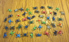 "50 NEW TOY SPIDERS FAKE CREEPY SPIDER HALLOWEEN PROP 2"" SIZE PARTY FAVOR PRANK"