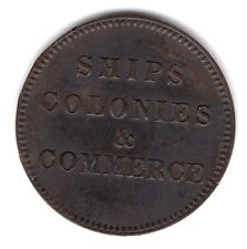 1835 PEI Canada Ships Colonies And Commerce Copper Blunt Tail Token A192
