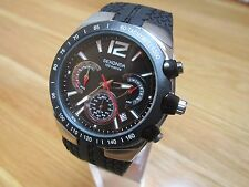 NEW MENS SEKONDA CHRONO  WATCH BLACK MULTI DIAL BLACK SILICON/ RUBBER STRAP