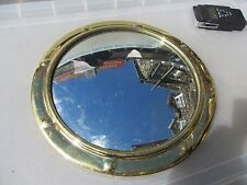 "Vintage Brass Porthole Mirror Rivets Ship Boat Look 1960-70's Old Retro   11.5""W"