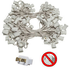 100 Ft C9 Christmas Light Stringer White Wire Indoor/Outdoor Patio 100 Sockets