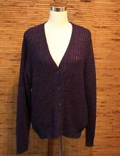 Coldwater Creek Cardigan Sweater XL (16) Button Front Knit Navy Blue Knit EUC