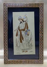 Signed Persian Fine Miniature Woman & Man Painting in Antique Inlaid Wood Frame