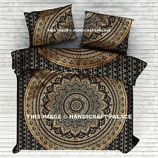 Indian Black Gold Ombre Mandala Quilt Duvet Cover Bedding Cotton Doona Cover Set