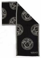 New Authentic VERSACE 100% Wool Medusa Head Logo Black Men's Scarf - Italy
