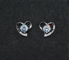 Lovely 18ct/18k White Gold Filled Heart White Sapphire Stud Earrings