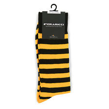 Men's Colorful Gold & Black College Stripe Dress Casual Socks Size 10-13 New