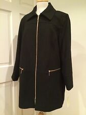 Michael Kors Coat Warm Wool Blend Trench Peacoat Zip Black Plus Size 3X $275