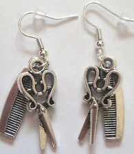 QUIRKY IDEAL GIFT HAND MADE HAIRDRESSER COMB & SCISSORS DANGLE  EARRINGS NEW