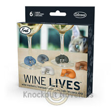 Wine Lives Kitty Wine Markers Mark Drinks Party Set 6 Colors Cat Cats Kitten