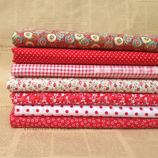"""New Red 7 Assorted Pre Cut Charm 10"""" Squares Thin Quilt Cotton Fabric"""