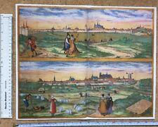 MAPPA A COLORI DI ORLEANS, Bourges, FRANCIA: 1575 da Braun & HOGENBERG RISTAMPA inglesi